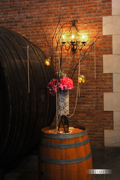 decorated arch with wine barrel